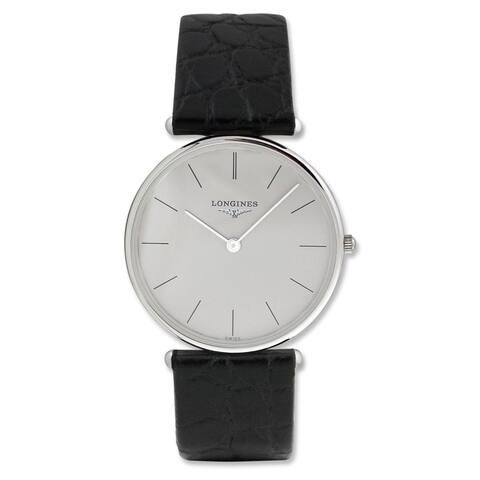 Longines Men's L46916722 'La Grandes Classiques Flagship' Black Leather Watch