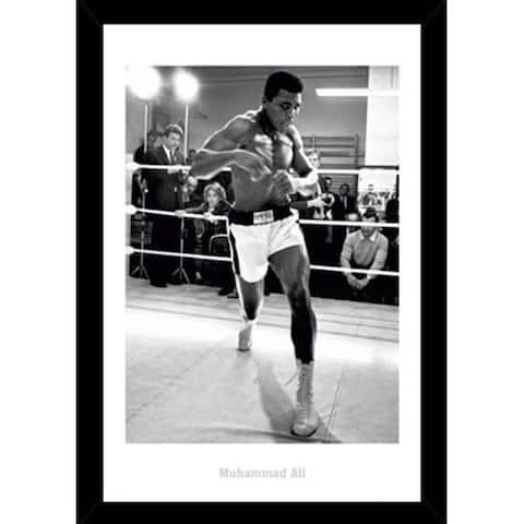 Muhammad Ali Training Print with Black Wood Frame