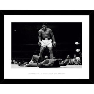 Muhammad Ali vs. Sonny Liston 23.5-inch x 31.5-inch Poster Print with Black Wood Frame
