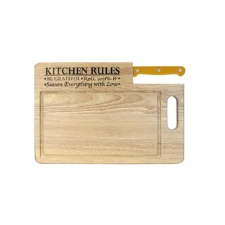 Ginsu Essential Series 'Kitchen Rules' Cutting Board with Santoku