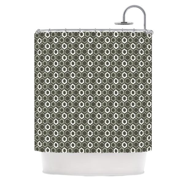 Kess InHouse Laurie Baars 'Hexy' Green Geometric' Shower Curtain (69x70)