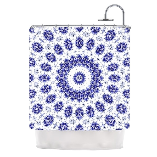 Kess InHouse Iris Lehnhardt 'M2' Blue White' Shower Curtain (69x70)