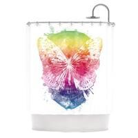 Kess InHouse Frederic Levy-Hadida 'Butterfly Skull' Rainbow' Shower Curtain (69x70)