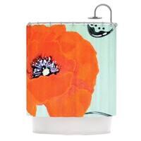 Kess InHouse Christen Treat 'Vintage Poppy' Orange Flower' Shower Curtain (69x70)
