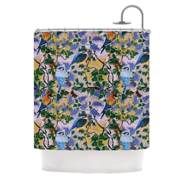 Kess InHouse DLKG Design 'Birds' Blue Yellow' Shower Curtain (69x70)