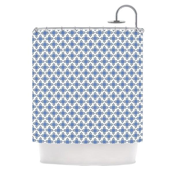 Kess InHouse Carolyn Greifeld 'Bohemian Blues III' White Blue' Shower Curtain (69x70)