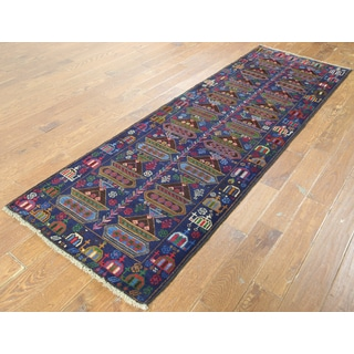 Hand-knotted Oriental Balouch Blue Wool-on-wool Rug (2'11 x 9'2)
