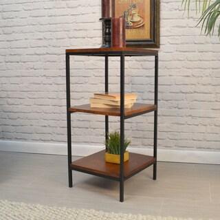 Finn Black Metal Short Bookcase With Cherry Shelves
