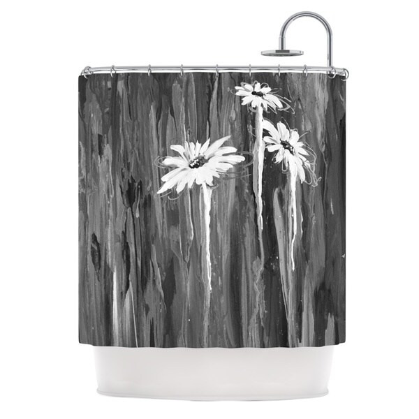 "Kess InHouse Brienne Jepkema ""Daises"" Gray FlowersShower Curtain, 69"" x 70"""