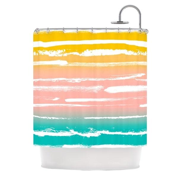 "Kess InHouse Anneline Sophia ""Painted Stripes Peach"" Pink TealShower Curtain, 69"" x 70"""