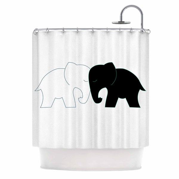 KESS InHouse NL Designs 'Black And White Elephant Love' Shower Curtain (69x70)