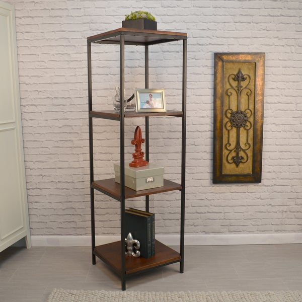 Finn Brown Wood And Black Metal Square Bookcase by Generic