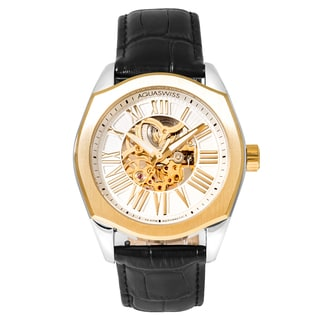 Aquaswiss Men's 30GA005 Gold Legend Stainless Steel Automatic Watch with Leather