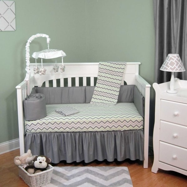 Green And Grey Chevron Five Piece Baby Crib Bedding Set
