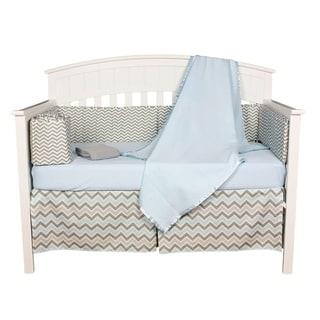 Blue and Grey Zigzag Chevron 5-piece Baby Boy Crib Bedding Set With Bumper