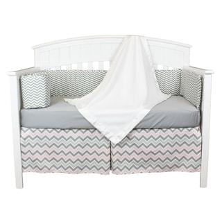 Pink and Grey Chevron 4-piece Zig Zag Baby Bedding Set with Fleece Blanket and Chevron Bumper