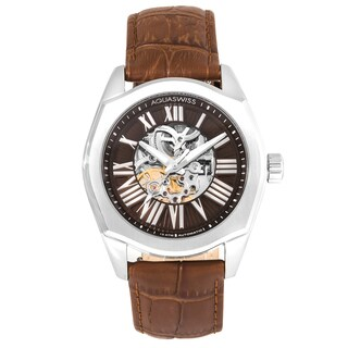 Aquaswiss Men's 30GA003 Silver Stainless Steel Legend Automatic Watch with Brown Leather Strap