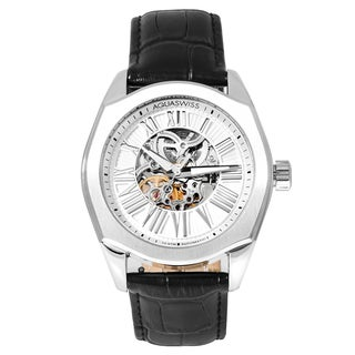 Aquaswiss Men's 30GA001 Silver Stainless Steel Legend Automatic Watch with Black Leather Strap