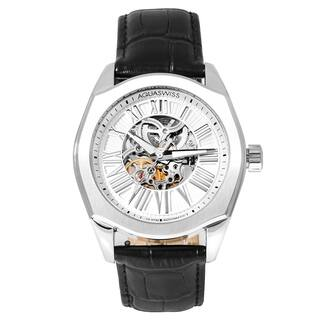 Aquaswiss Men's 30GA001 Silver Stainless Steel Legend Automatic Watch with Black Leather Strap|https://ak1.ostkcdn.com/images/products/12096840/P18960253.jpg?impolicy=medium