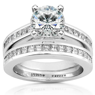 Annello by Kobelli 14k White Gold 1 1/2ct Round Moissanite (HI) and 1ct TDW Diamond Princess Channel Bridal Set