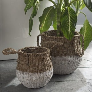 TAG Two-tone White/Brown Tall Basket (Set of 2)