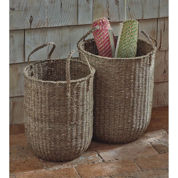 TAG Natural Seagrass Floor Basket (Set of 2)