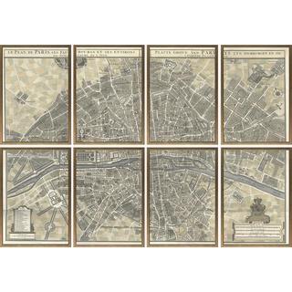 Art Virtuoso's 'Plan de Paris' 60 1/4-inch x 87-inch 8-piece Self-matted Print Set (29 7/8-inch x 21 3/8-inch Frames)
