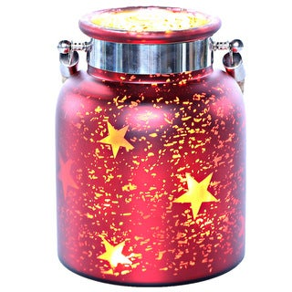 Blue, Red, and White Mercury Glass 8.6-inch Star Jar with Lights