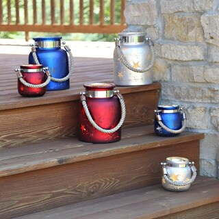 Blue, Red, and White Mercury Glass 8.6-inch Star Jar with Lights (Option: Blue)