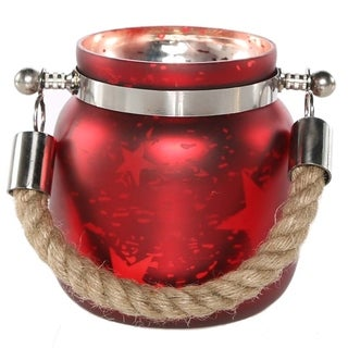 River of Goods Blue, White, and Red Mercury Glass 4.75-inch Small Star Jar with Battery-operated Lights