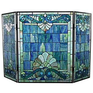 River of Goods Tiffany-style Stained Glass 28-inch Swirling Shells Fireplace Screen