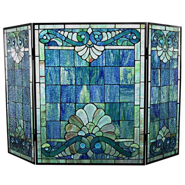 River Of Goods Tiffany Style Stained Glass 28 Inch Swirling Shells Fireplace Screen Free