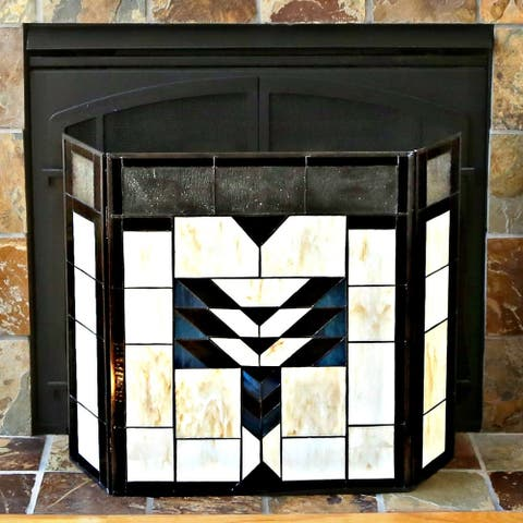 "26-inch Mission Style Stained Glass Fireplace Screen - 31.5""L x 6.75""W x 26""H"