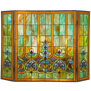 River of Goods Multicolor Stained Glass 26-inch Tiffany-style Webbed Heart Fireplace Screen