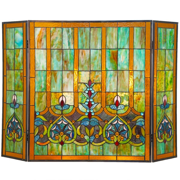 River Of Goods Multicolor Stained Glass 26 Inch Webbed Heart Fireplace Screen Free Shipping
