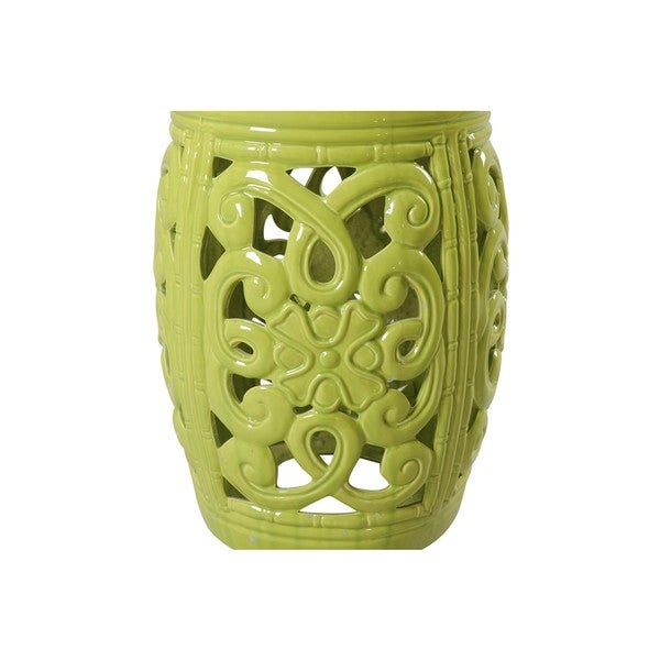 Lime Green Ceramic Garden Stool   Free Shipping Today   Overstock.com    18960301