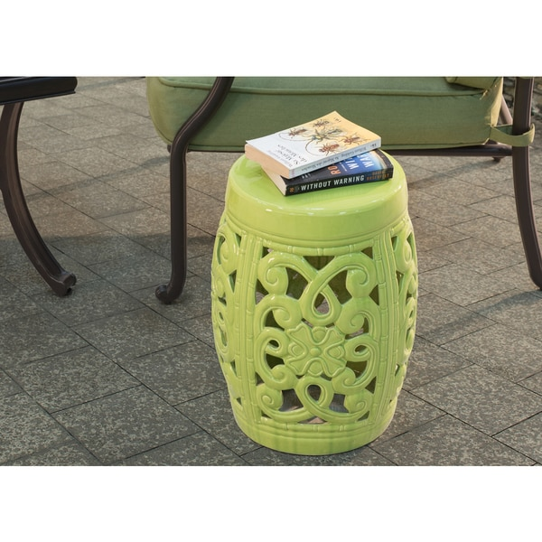 Lime Green Ceramic Garden Stool - Free Shipping Today - Overstock ...