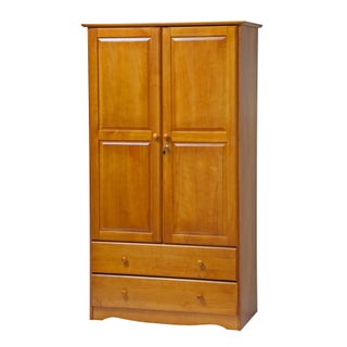 """Smart Solid Wood Customizable Wardrobe by Palace Imports - 40""""w x 72""""h x 21""""d (Option: Honey Pine)"""
