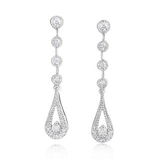 SummerRose 14k White Gold 1/3ct TDW Diamond Dangling Earrings (H-I, SI2-I1)