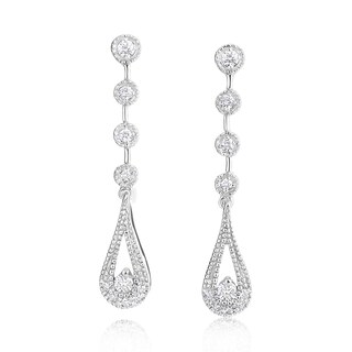 SummerRose 14k White Gold 1/3ct TDW Diamond Dangling Earrings