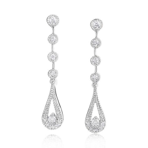 SummerRose 14k White Gold 1/3ct TDW Diamond Dangling Earrings