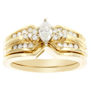 H Star 14k Yellow Gold 1/2ct TDW Diamond Marquise Bridal Set (I-J, I2-I3)