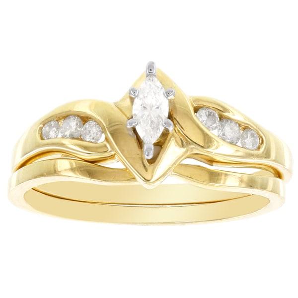 H Star 10k Yellow Gold 1/4ct TDW Diamond Marquise Bridal Set