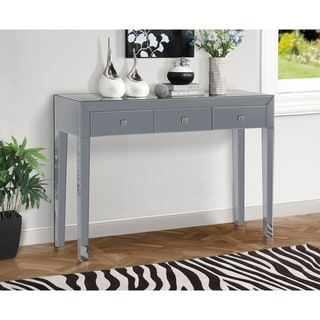 Gallerie Decor Mirrored-finish Glass and Wood Reflections Console Table