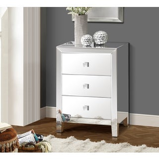 Gallerie Decor Reflections Grey Wood and Glass Mirrored Three-drawer Chest