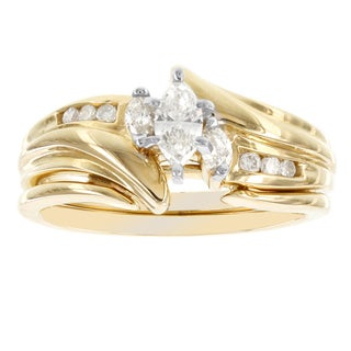 H Star 14k Yellow Gold 1/2ct Diamond Marquis Bridal Set