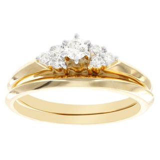 H Star 14k Yellow Gold 1/4ct TDW Diamond Bridal Set