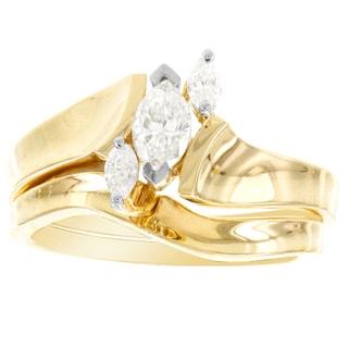 H Star 14k Yellow Gold 1/2ct TDW Diamond Marquise Bridal Set
