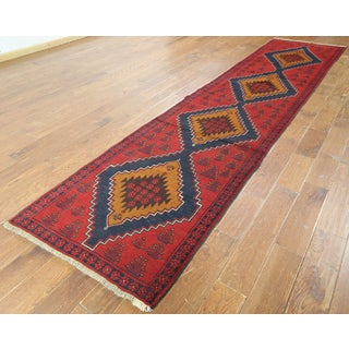 Red Wool-on-wool Oriental Balouch Hand-knotted Rug (2'10 x 13')