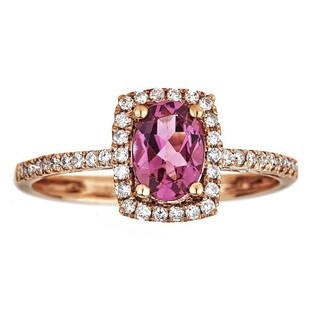 Anika and August 10k Rose Gold Oval-cut Pink Tourmaline and Diamond Ring